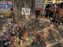 A woman looks at flowers laid at the bottom of a tree on January 2, 2013 in the street of Abidjian where at least 60 persons died in a stampede among crowds gathered for celebratory New Year's Eve fireworks that also left dozens injured. Ivory Coast began today three days of national mourning. AFP PHOTO / ISSOUF SANOGO (Photo credit should read ISSOUF SANOGO/AFP/Getty Images)