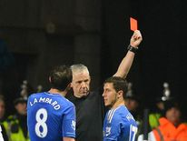 Chelsea's Eden Hazard (right) shown red card for kick incident