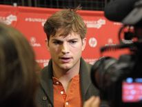 Ashton Kutcher is interviewed at the jOBS premiere in Utah