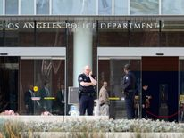 LAPD officers patrol the department's headquarters