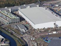 Aerial view of the International Broadcast Centre and Main Press Centre (IBC/MPC) at the Olympic Park in east London