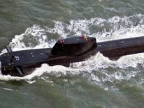 HMS Astute nuclear submarine leaving Barrow-in-Furness