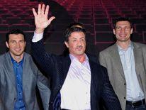 Vladimir Klitschko, Sylvester Stallone and Vitali Klitschko attend the photocall for the musical 'Rocky'