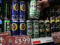 Cheap cans of beer on sale in a UK supermarket
