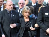 Estranged wife of PC David Rathband attends his funeral at Stafford crematorium