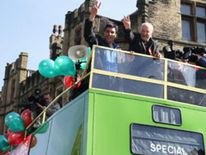 MP George Galloway on open top bus tour in Bradford following his by-election victory