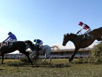 Seabass ridden by Katie Walsh jumps the last fence behind Rare Bob ridden by Bryan Cooper (28) and Swing Bill ridden by Connor O'Farrell (24)
