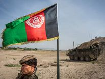 An Afghan flag flies in Kandahar Province.