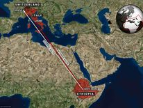 This map show's the plane's intended route to Rome and the diversion it took to Geneva