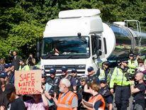 Protesters surround a tanker outside Cuadrilla's drilling site