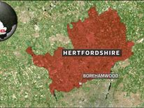 A map showing the location of Borehamwood, Hertfordshire