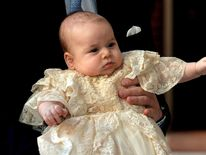 Prince George at his christening in St Jame's Palace