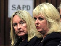 June Steenkamp sits in court ahead of the trial of Olympic and Paralympic track star Pistorius in Pretoria