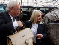 Mother of the murdered Reeva Steenkamp arrives at the trial of Olympic and Paralympic track star Pistorius in Pretoria