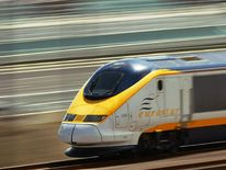 The Eurostar train speeds along a new se