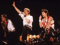 Duran Duran perform on stage in 1984