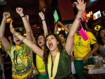 Brazil Fans Celebrate Win Over Croatia