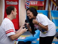 Joey Chestnut proposes to his longtime girlfriend Neslie Ricasa