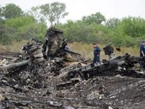 Wreckage of downed Malaysia Airlines flight MH17 in eastern Ukraine