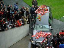 Eusebio hearse in stadium