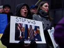 Demonstration Held In New York Against Russia's Recent Moves Against Ukraine