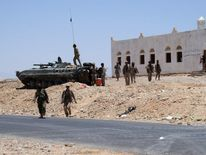 Yemeni troops are seen stationed in Raida, in Shabwa province, in southern Yemen on May 1, 2014.