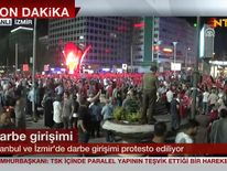 Turkish people celebrate the coup Pic: NTV