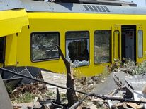One of the badly damaged carriages badly damaged in the collision