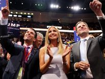 Donald Trump Jr, Ivanka Trump and Eric Trump in the roll call in support of Republican presidential candidate Donald Trump