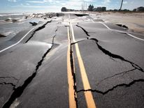 Road Damaged In North Carolina By Superstorm Sandy