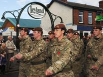 The King's Royal Hussars marching through the streets of Leyland