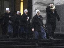 Amish men and women leave US federal court in Cleveland