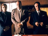 Steven Van Zandt as Silvio Dante, James Gandolfini as Tony Soprano and Tony Sirico as Paulie Walnuts in The Sopranos. Pic: HBO