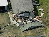 An aerial view of the damage
