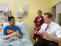 David Cameron on a visit to a hospital in London