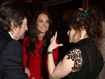 The Duchess of Cambridge (centre) meeting Helena Bonham Carter and Sir Trevor Nunn