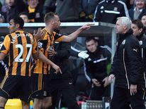 Newcastle manager Alan Pardew appeared to headbutt Hull City's David Meyler.