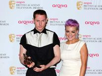 Sean Harris with his leading actor prize alongside presenter Sheridan Smith at the Baftas.