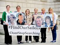 The families of four British yachtsman missing in the Atlantic.