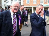 Ukip leader Nigel Farage and Ukip candidate Roger Helme