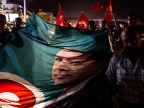 People take to the street in support of President Recep Tayyip Erdogan  in Antalya