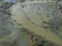 An aerial shot of the flooded Thames Valley
