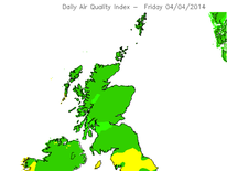 Smog levels in UK Friday