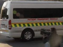 Ambulance leaving Pretoria hospital