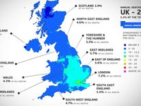 A graphic showing the number of deaths linked to air pollution a year across the country.