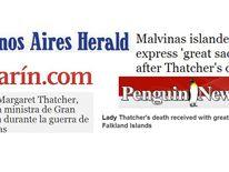 USE: Argentina, Falkland Islands headlines on Thatcher