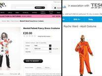 Asda & Tesco mental patient psycho fancy dress costumes