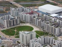 Aerial view of the Athletes Village in the London 2012 Olympic Park