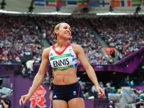 Jessica Ennis manages a smile during the heptathlon javelin throw at Londo 2012