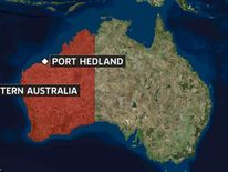 Map of Australia showing Port Hedland